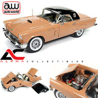 AUTOWORLD AMM1098 1:18 1957 FORD THUNDERBIRD T-BIRD CONV CORAL SAND W/ BLACK TOP