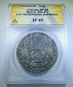 Reygersdahl Shipwreck 1743 Mexico Silver 8 Reales Antique XF 1700's Dollar Coin