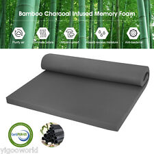 "2"" INCH FULL SIZE COMFORT BAMBOO CHARCOAL MEMORY FOAM MATTRESS PAD BED TOPPER"