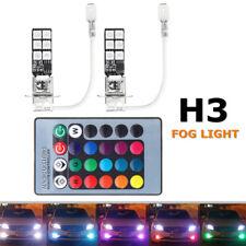 2PCS H3 5050 RGB LED 12-SMD Car Headlight Fog Light Lamp + Remote Control 12V US