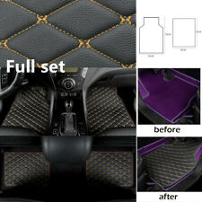Universal Leather Car Floor Mat Quilted Design Waterproof Liners Carpet 4PCS Set