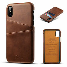 For iPhone XS Leather Wallet Card Slot Holder Back Cover Shockproof Case Clear