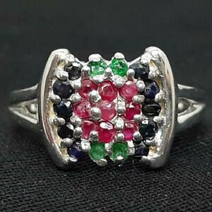 World Class .85ctw Emerald, Ruby & Sapphire 925 Sterling Silver Ring Size 5.5