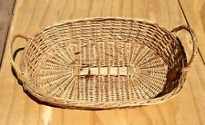 Vintage Oval Woven Wicker Basket w/ Handle decor design storage 19 x 13 x 6