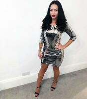 Silver Sequin Stretchy Dress Cut Out Back Zip to Hem Mini Womens Ladies Xmas UK