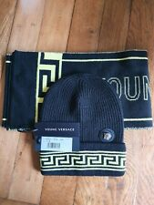 Versace Kids/ Young Versace Unisex Logo Wool Hat And Scarf Set. Size S Designer