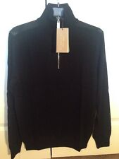 New Burberry Merino Wool Check Shoulder Sweater Black Sz M