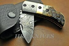 "DF9 ~ 5.5"" CUSTOM HRC DAMASCUS FOLDING POCKET KNIFE W RAM HORN HANDLE - USA"