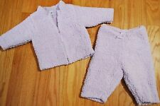 BABY GAP Chenille Fleece Outfit Lot Jacket Sweater Top + Pants Purple Girl 0-3