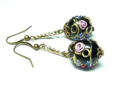 bead earrings to match 30s necklaces Art Deco Venetian black wedding cake glass