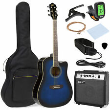 Blue 6 String Wood Full Size Acoustic Electric Cutaway Guitar Set Amp Case Bag