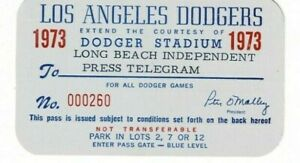 1973 Los Angeles Dodgers press pass Baseball