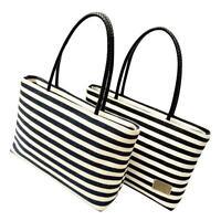 Women Canvas Striped Shoulder Bag Scarf Beach Shopping Tote Handbag Bags aw