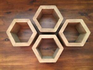4x Handmade Wooden Hexagon Wall Shelf (Hexagonal, honeycomb)