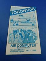 TORONTAIR AIRLINE TIMETABLE AIR COMMUTER SUMMER SCHEDULE JULY 1982 ADVERTISING