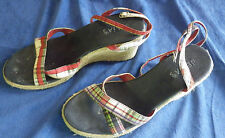 Delias Sandals Molly Wedge Size 8M Plaid Womens