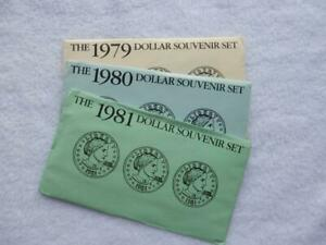 1979-1980-1981 PDS SOUVENIR SUSAN B. ANTHONY SET, 1 OF EACH   #R601