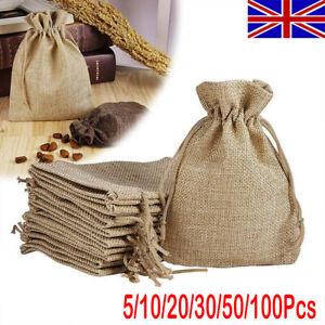 50/100 Small Burlap Jute Hessian Bag Wedding Favour Jewellery Drawstring Pouch A