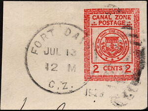 Canal Zone - 1924 - 2 Cents Carmine Seal Postal Stationery Issue Cut Square #U9