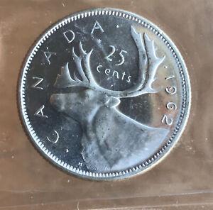 1962 Canada Silver Quarter - ICCS MS65