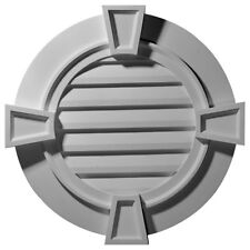 """34 1/8""""W x 34 1/8""""H x 1 1/2""""P,  Round Gable Vent with Keystones, Functional"""