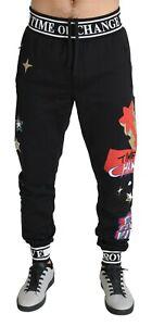 Dolce & Gabbana Pantalon Coton Noir Temps De Changer Étoile Jogging IT48 / / M