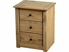 Panama 3 Drawer Bedside Chest - Solid Waxed Pine - Seconique Bedroom Furniture