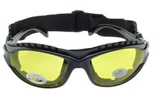 Padded Motorcycle Sunglasses Riding Glasses Goggles Strap Foam Yellow Black