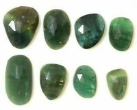 Blue Tourmaline Rose Cut Slice 8 Pcs 10.60 Cts Faceted Watermelon Cabochon Beads