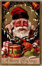 Vintage Christmas Postcard Very Sincere-Looking SANTA CLAUS w/ Toys c1910s