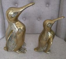 Vtg 60's - 70's Large & Small Heavy Brass Penguin Figurine Set GUC READ ALL