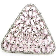New Arrival Triangle Pink Kunzite White CZ Wedding Silver Ring US 9.0#