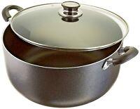 16 Quart Non Stick Aluminum Sauce Pan/Stock Pot With Glass Lid, Black