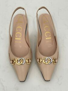 GUCCI – Authentic – Pointed Toe Flats – Sling Back – Beige – Size 37