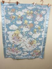 Vintage Precious Moments Angels Nursery Decorative Handmade Blanket 35.5X43.5