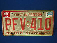 North Carolina 1975 License Plate First in Freedom Tag Old Car Vintage Garage