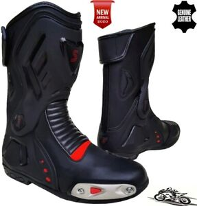 Mens Black & Red Motorbike/Motorcycle CE Racing Boots Sports Real Leather Shoes
