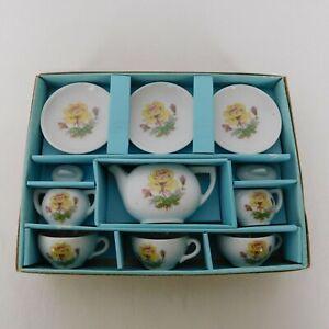 Childs Toy China 11 Piece Tea Set Made Japan Complete Original Box 49V30 Flowers