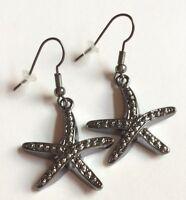 Silver Black Starfish Earrings Sea Life Island Beach Nautical Dangle Plated