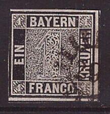 """Bayern 1 I b gestempelt 1 Kreuzer geprüft """"Schwarzer Einser"""" 1849 (22126)"""