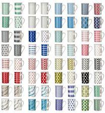 Set of 4 MUGS / 270ml Porcelain Coffee Tea Latte Water Drinks Soup Mugs