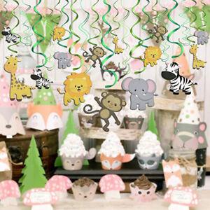 30pcs Safari Animals Jungle Hanging Swirl Decoration Baby Shower Birthday PartL