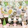 30Pcs Zoo Swirls Animal Jungle Hanging Room Decor Baby Kids Party Supplies Set