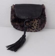 Bueno Black Faux Leopard Fur & Black Reptile Print Faux Leather Shoulder Bag