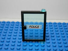 LEGOS Black Right Door 1 x 4 x 5 Trans-Light Blue Glass POLICE Red Line Pattern