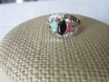 Sterling Silver Ruby Emerald Black Sapphire ring 925 silver real gems size 6