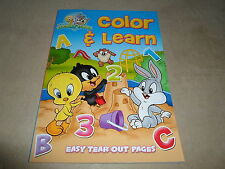 Baby Looney Tunes Color & Learn Book With Easy Tear-Out Pages, USA Made!, NEW!!