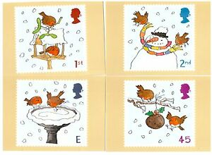 GREAT BRITAIN 2001 CHRISTMAS ROBINS SET OF 5 MINT PHQ CARDS