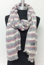 New Soft 100% Cotton Long Scarf Wrap Shawl Tassel Striped Brown/Wine/White/Blue