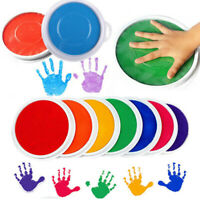 8 Colors DIY Ink Pad Stamp Finger Painting Craft Cardmaking Large Round For Kids